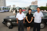 My team. Driver mr Kim, Guide ms Li - and mr Pak. And my brand new Mercedes 230E