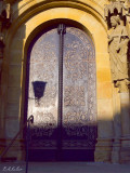Cathedral door in morning sun