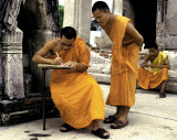 Friendly Monks At a Small Temple