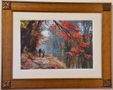 Autumn Morning Stroll Along the Canal (Framed 18x24) Non Glare glass