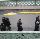 Hasidic Jews crossing Canal de l'Ourcq