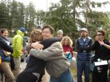 Don & Marla hug after passing the torch ceremony  for most directionally challenged