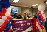 Gate activity prior to inaugural Delta flight from Atlanta to Acapulco