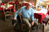 Dale and his new friend at the German Bakery in Nuevo Arenal