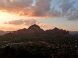 Thunder Mountain and Coffee Pot Rock at Sunset