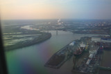 Flying back into Philly at sunset