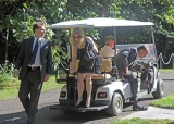 Arriving at Andrea & Keith's wedding with son, Wayne & his wife, Katherine.
