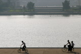 Biking around the Juche Tower, P'yongyang