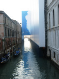 Canal from St Marco Square,  they covered the wall with a cloud