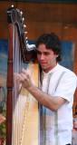 Playing on harp