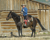 Cowgirl at teton barn