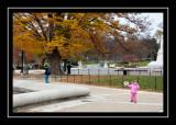 Norah walking backwards around the Capitol pool