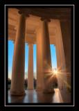 Rising sun at the Jefferson Memorial