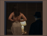 Woman through the blinds