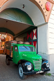 Green Truck With Beer Barrels