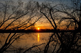 Wisla River Sunset Well Framed