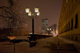 City Evening With Snow