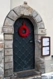 Door With Red Wreath