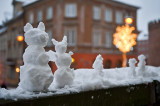 Snow Family In New Town