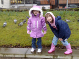 Heather and Eileen with the pigeons.