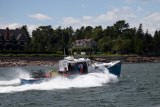 Lobster boat in a hurry