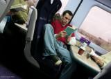 On a train.