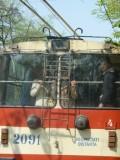Red tram-bus