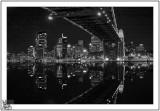 Under The bridge Sydney Harbour at Night mono.