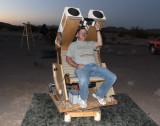 Steve Dodder and the vintage Pierre Schwaar Bino Chair he refurbished.