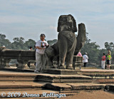 Carolyn with the Naga at Angkor  Entrance