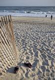shoeless on beach