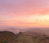 Misty sunrise on Hadrian's Wall