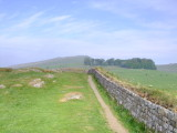 Hadrian's  Wall, partially  reconstructed,on  Peel  Crags.
