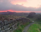 Masked  sunrise  over  Hadrian's  Wall.