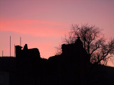Sunset  over  the  castle  ruins.