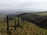 Wansdyke , looking  east  on  a  misty  morning.