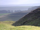 This image shows Wansdyke snaking down the hillside.