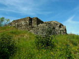 Dolforwyn Castle,perched on its hilltop.