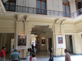 in the hall of Latin American heros, with paintings of historical icons