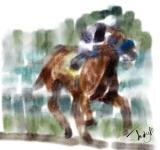 horse-rider - a watercolor