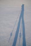 X-C skiing in Brown Deer Park, my shadow