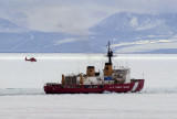 Icebreaker and helicopter