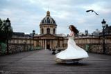 Rolling in wedding dress on the Pont des Arts - Andreea