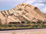 UP train passing mighty Mormon rocks near Cajon Pass, CA