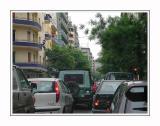 Morning traffic in  Athens