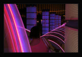varying neon lighting of Ballys entrance,Las Vegas