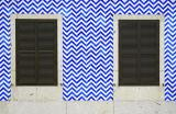 Twins, blue and white tiles