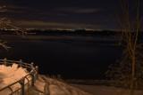 Vue sur le fleuve  une nuit d'hiver