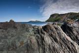 Formations rocheuses sur la plage de l'ile au flacon