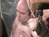 Barrelchest Balding Husky Stocky Gay Bear Man Bound and Tiedup Ropes Wrists Chained